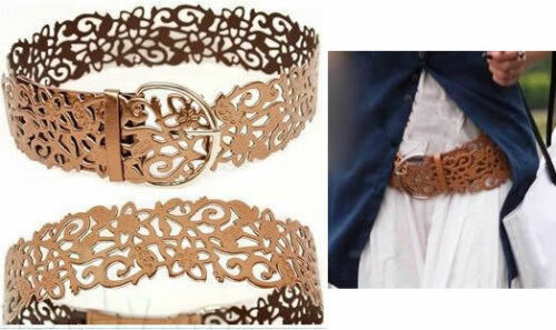 Fashion Hollow Out Brown Leather Wide Waistband Waist Belt Lady Ornament Gift