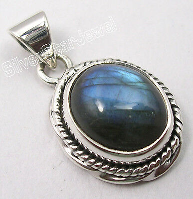925 Solid Silver LABRADORITE BEAUTIFUL Pendant 2.4CM