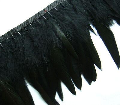 F271 PER FEET-Long Black Rooster Hackle feather fringe Trim Fascinator Material