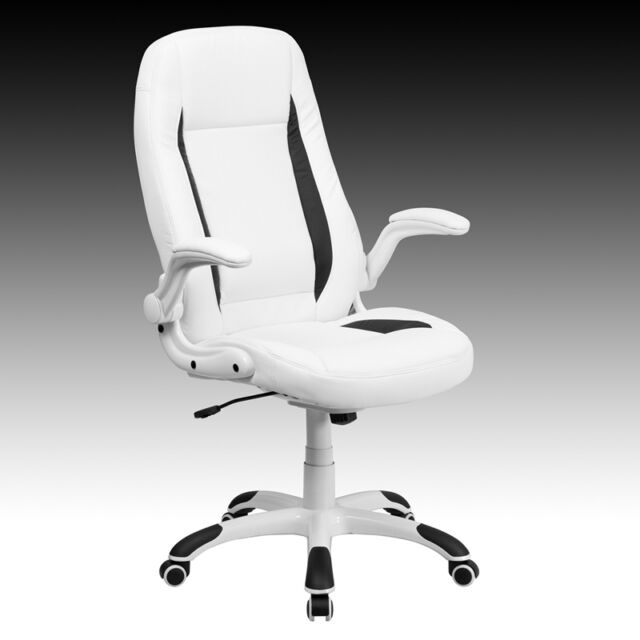 White Leather and Black Accents High Back Office Chair with Flip Up Arms