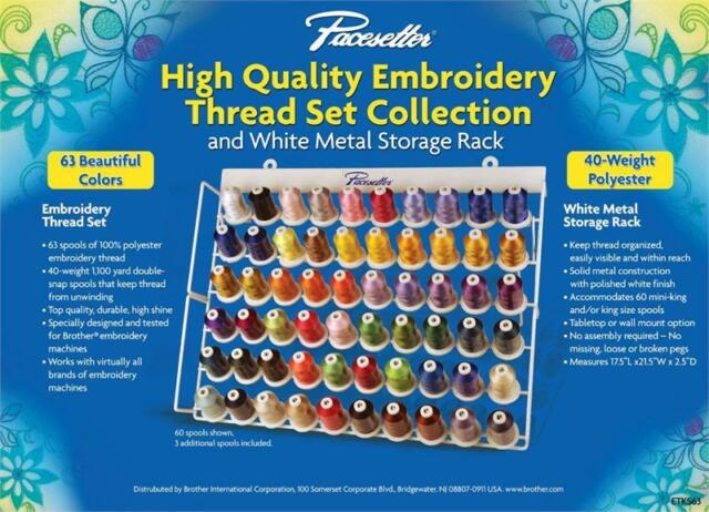Brother ETKS63 Embroidery Thread Set with Rack 1100 yd New!