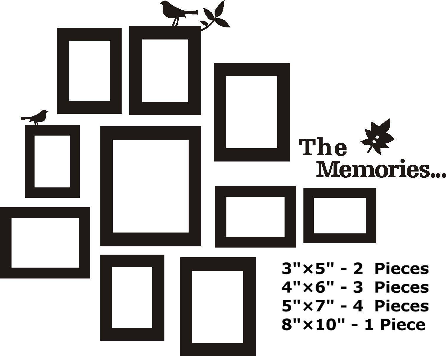 10 Pcs Picture Photo Frame Set Wall Black Sticker Vinyl