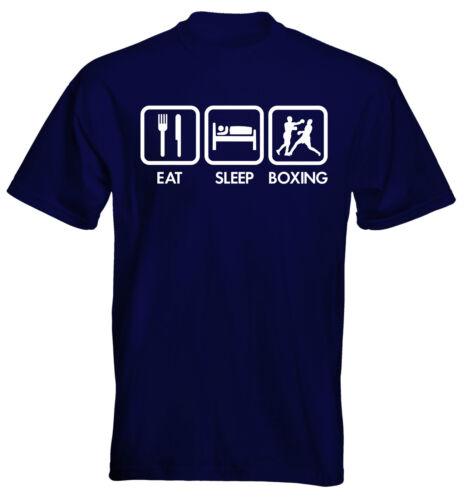 Velocitee Kids T-SHIRT EAT SLEEP box boxe taglia e colore a scelta delle opzioni UK Venditore