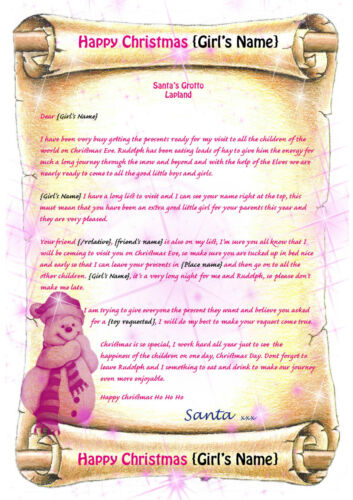 Girls Personalised Letter From Santa Father Christmas North Pole envelope V1-3