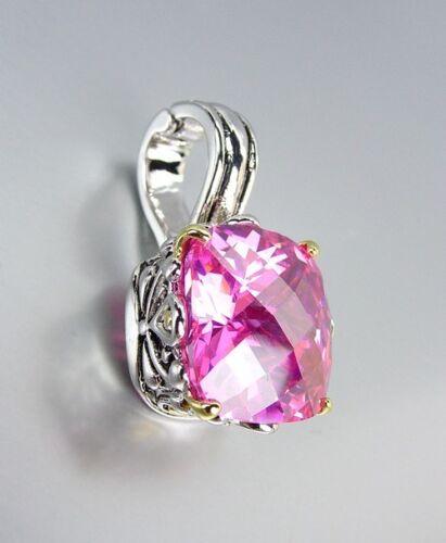 Designer Style Silver Gold Balinese Filigree Pink Rose CZ Crystal Pendant