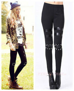 Black-Studded-Spike-Microfiber-Leggings-one-size-fit-Waist-23-28