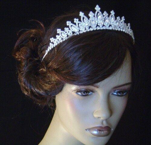 UK seller - Clear White Crystal Bridal Tiara Wedding Prom Crown Gift sj1839