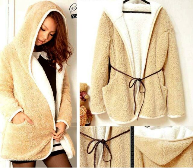 Lady Gorgeous Winter Warm Thick Plush Hooded Fleece Coat with Belt Size S M #TFE