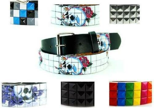 Various Unisex  3-Row Metal Pyramid Studded Leather Belt Mens Womens Punk Rock