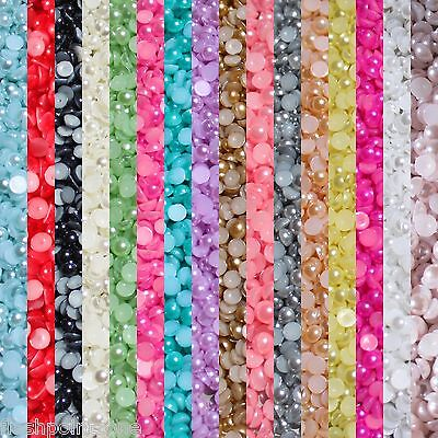 1000 Half Pearl Beads Flat Back, Craft  Scrapbooking Choose Your  Color And Size