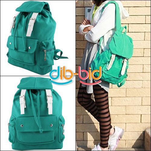 Canvas Green Lady Style Shoulder Bag Backpack SchoolBag School Bag SSUS