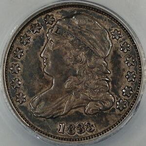 1833 Capped Bust Silver Dime 10c Anacs Au 55 Pleasing
