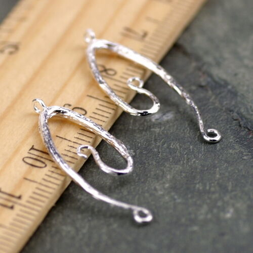 11mm Sterling Silver Plated Vine Connector Charm Earing Finding be39s (2pcs)