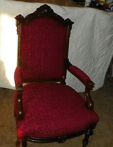 Walnut-Carved-Parlor-Chair-Armchair-AC73