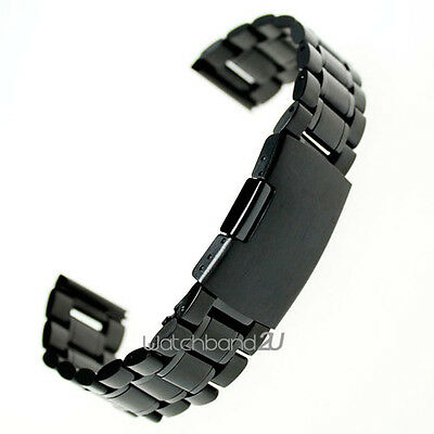 Black Stainless Steel Solid Links Watch Band Strap Bracelet Straight End