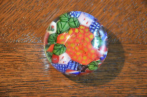 Vintage-Round-Glass-Paperweight-Millefiori-Millifiori-Art-Close-Packed-Colorful