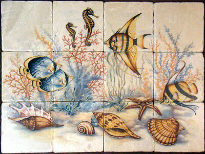 Art Undersea Mural Tumbled Marble Botticino Backsplash Bath Colorful Tile