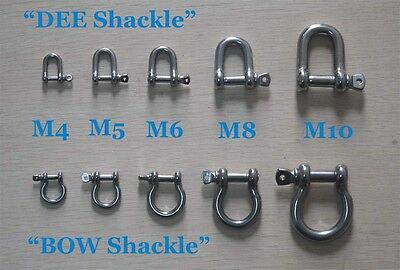 A2 Stainless Steel Shackles, BOW or D Shaped for DIY 2PCS 4mm\5mm\6mm\8mm\10mm