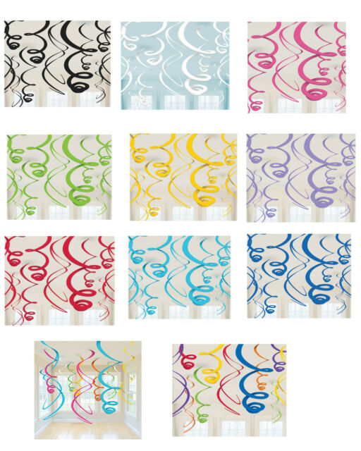 Ceiling SWIRL Decorations (12) ~ Baby BRIDAL Shower Birthday PARTY Supplies