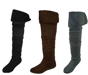 Flat Thigh High Suede Boots