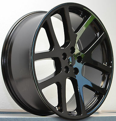 "Set of 4 22"" Staggered Viper SRT8 300 Charger Challenger Wheels Rims Gloss Black"