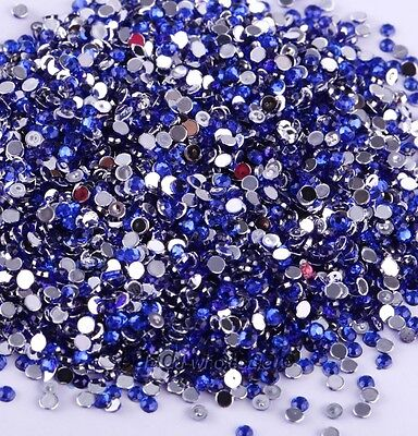 2000 Pcs Wholesale Crystal Flat Back Acrylic Rhinestones Gems 21 Colors 2mm