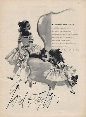 1957 Lord & Taylor Broadcloth Young Girls Dress Fashion ART PRINT AD