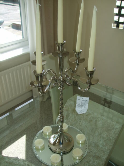 10x Silver XL 60cm Wedding Table Centre Piece 5 arm Candle Candelabra PACKAGE