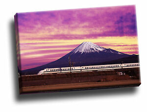 Shinkansen Bullet Train and Mount Fuji, Japan Giclee Canvas Picture Art