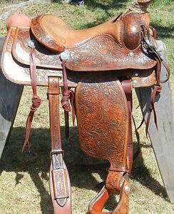 Vintage-1960-039-s-Handmade-Forrest-Shoup-15-5-034-Roping-Saddle