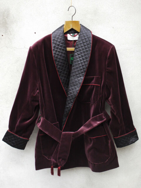 Burgundy Smoking Jacket by Tails and the Unexpected – Cotton Velvet and Silk