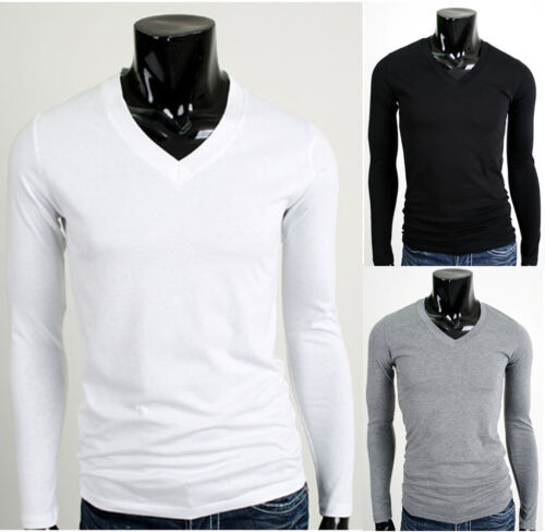 Mens Stylish Longsleeve Casual V Neck Cotton T-Shirt Shirts M L XL size