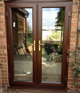 Brown upvc french doors made to measure not flat pack 01 ebay for French doors exterior upvc made to measure