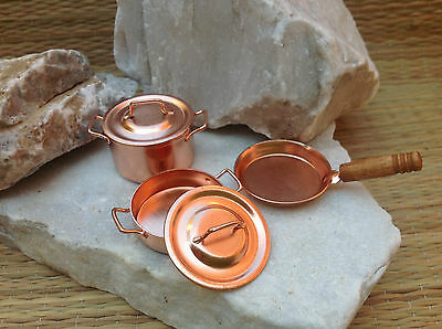 Dollhouse Accessory Miniature Metal Color Copper Pots with Lids and Fry Pan