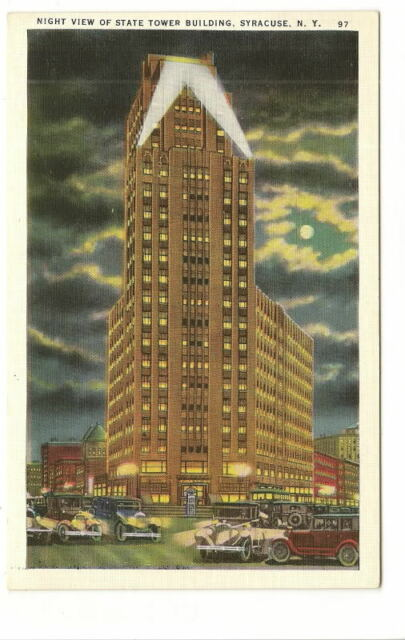 SYRACUSE NY State Tower Bldg Night View Vtg Postcard