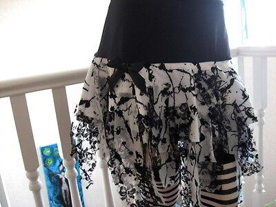 New Girls Black White Velvet Lace Mesh tatty Skirt Punk Witchy Goth Halloween