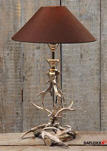 tischlampe geweih metall schirm braun stehlampe lampe ast. Black Bedroom Furniture Sets. Home Design Ideas