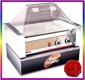 NEW-10-HOTDOG-HOT-DOG-ROLLER-GRILL-MACHINE-COOKER-WARMER-GRILLER-GUARD-amp-BUN-BOX