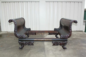 Monumental-New-York-Deming-and-Bulkley-Classical-Carved-amp-Stenciled-Sleigh-Bed