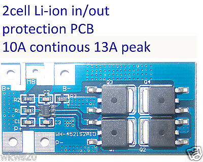 2 cells 10A Li-ion Lithium 18650 14450 Battery In/Out Protection PCB 13A peak