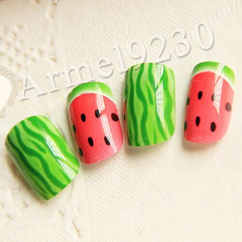 Fruit Cute Pink Nail Art DECAL WRAP Decoration False Acrylic 24 Nail Tips