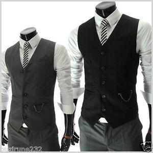 RVE-THELEES-Mens-Casual-Chain-Zipper-Pocket-5-Button-Slim-Vest-Waistcoat-M-L-XL
