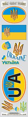 Ukraine10 stickers set Ukrainian Tryzub flag decals bumper car auto bike laptop