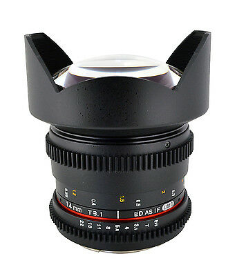 Rokinon 14mm T3.1 Cine Wide Angle Lens  w/ De-clicked Aperture For Nikon