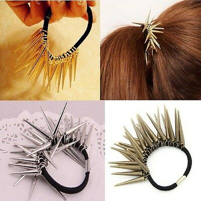 Fashion Personality Punk Rock Gothic Rivets Spike Hair Holder Pony Tail Holder