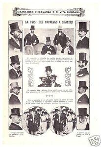 ARTICOLO-STAMPA-1910-CRISI-DEL-CAPPELLO-A-CILINDRO-LIBERTY-DECO-MODA-COSTUME