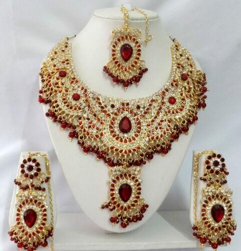 Indian Bollywood Costume Kundan Diamante Necklace Set Fashion Jewelry T9007
