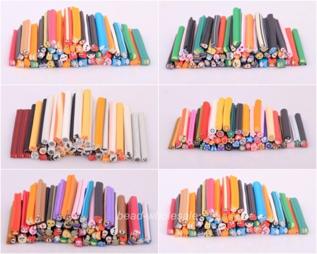 50pcs Fashion 3D Nail Art Fimo Stick Rods Polymer Clay Sticker Tips Mixed Styles
