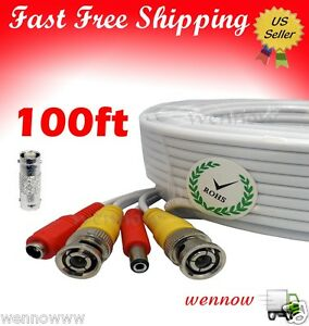 White 100ft Power & Video Cable for Security CCTV use / Zmodo / Swann / Qsee