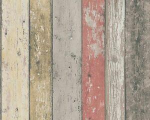 Vlies-Tapete-AS-New-England-895127-Holz-Bretter-braun-beige-rot
